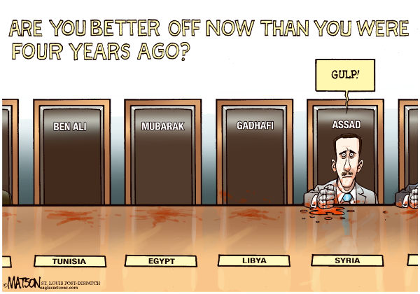 Сейчас вам лучше чем четыре года назад? (прозрачный намек на то, что следующий на очереди - лидер Сирии)