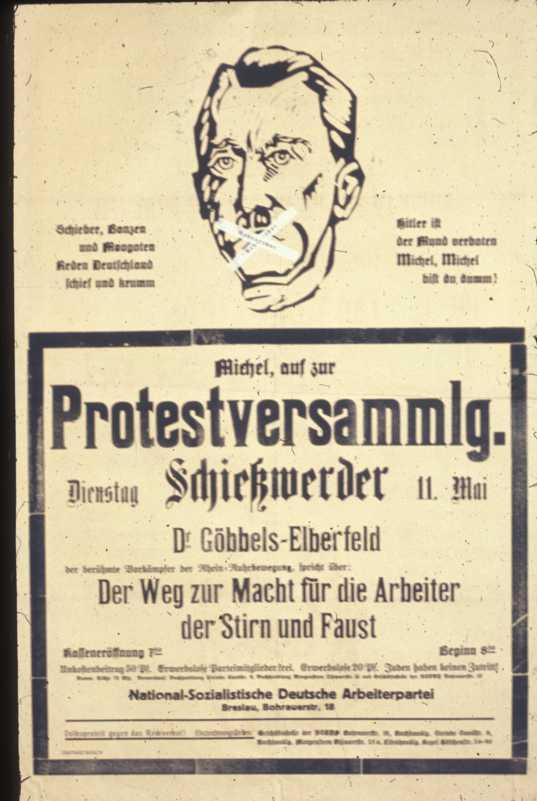 И опять запрет на выступления Гитлера. Плакат о выступлении Геббельса, гауляйтера Берлина