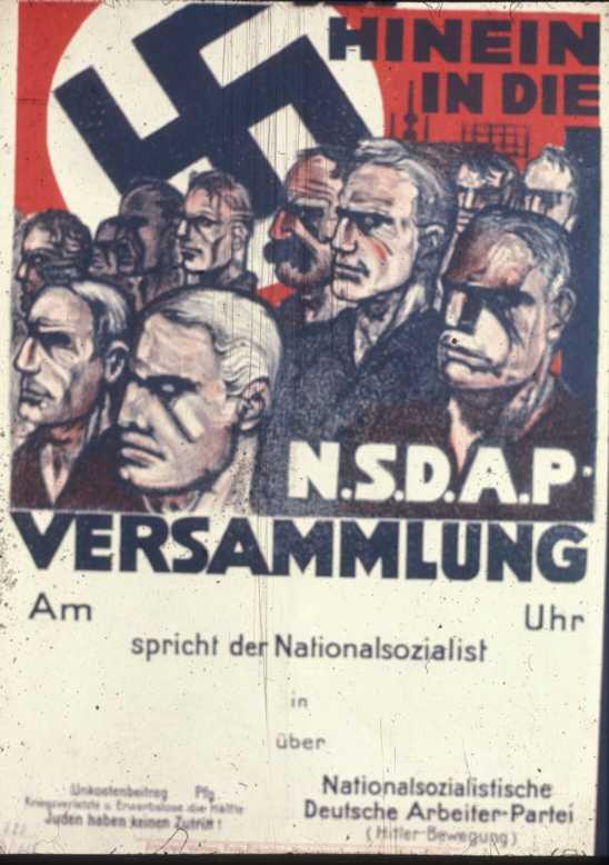 Плакат приглашает на митинг НСДАП. Место и время не указаны.