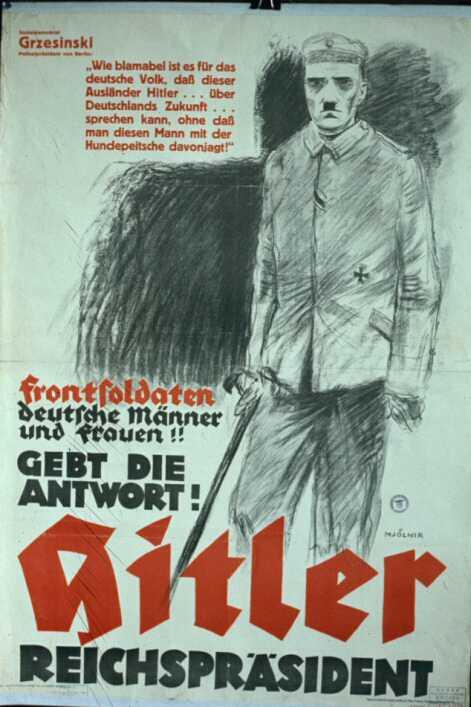 Выборы рейхспрезидента. 1932 год. Гитлер на тот момент был человеком без гражданства - от австрийского он отказался, чтобы не быть депортированным, немецкое еще не получил. Плакат рассказывает о том, что в годы войны Гитлер был солдатом германской армии.
