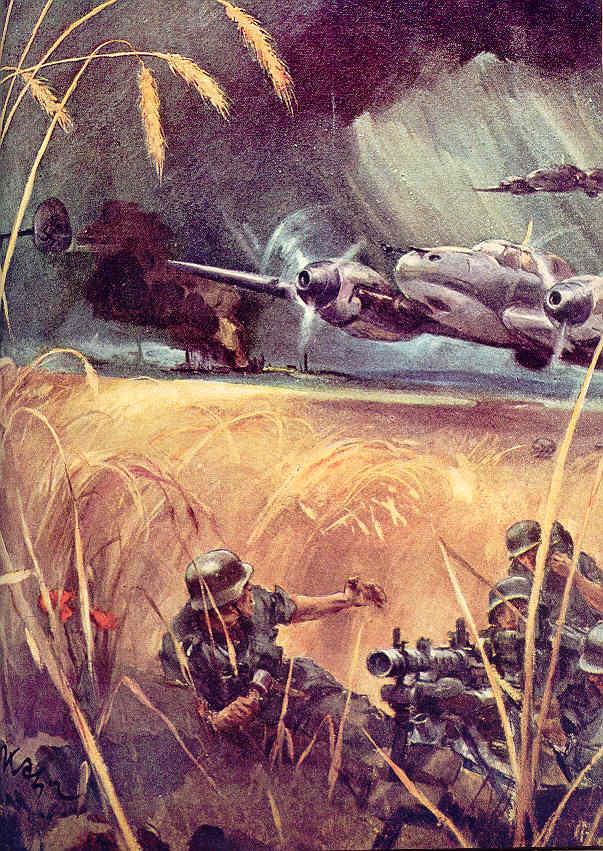 В атаке Мессершмитты (Ме-110 прикрывает пехоту в качестве штурмовика)