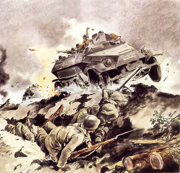 БТР SdKfz 250 в атаке