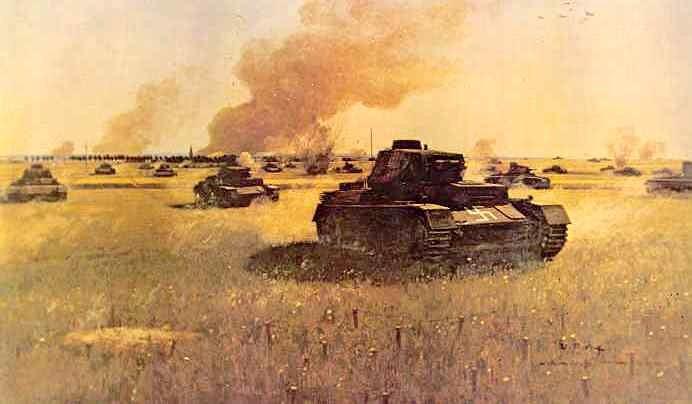 Танковая атака где-то во Франции (обратите внимание на свастику на лобовой броне - такой опознавательный знак почти никогда не применялся на германской бронетехнике)