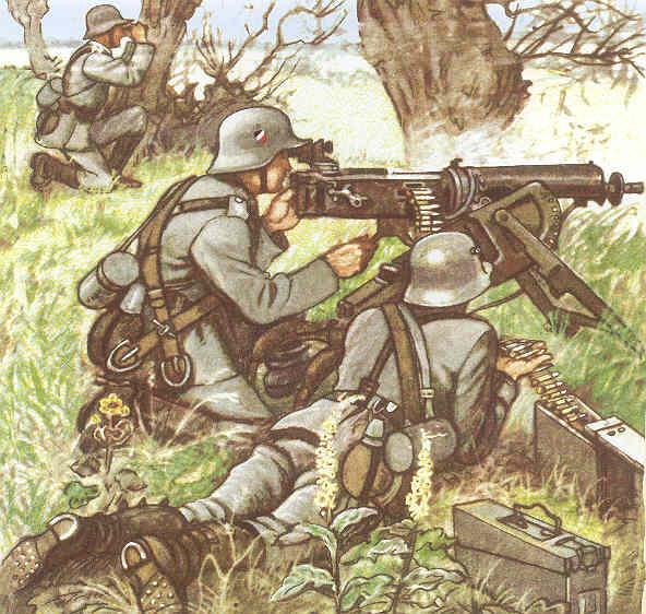 Пулеметчики (картина нарисована до войны, пулеметчики служат в Рейхсвере Веймарской республики)