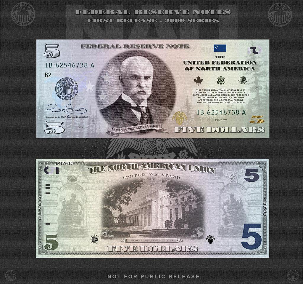 На лицевой стороне - Нельсон Уилмарт Олдрич (1841 - 1915). Сенатор от штата Род Айленд. Состоял в родстве со знаменитыми Рокфеллерами - был женат на дочери Джона Д. Рокфеллера-младшего. На посту сенатора лоббировал высокие таможенные тарифы в интересах американских производителей. Но на купюре оказался потому, что именно он и продавил тот самый Закон.На оборотной стороне - здание Федерального Резерва.
