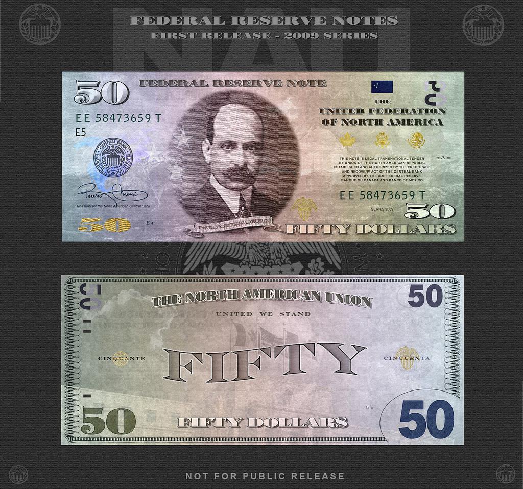 На лицевой стороне -  Пол Мориц Варбург (1868-1932). Именно этот финансист проработал в деталях идею создания Федеральной Резервной Системы Соединенных Штатов Америки. На оборотной стороне - над зданием Федеральной Резервной Системы флаги трех стран Северо-Американского союза.