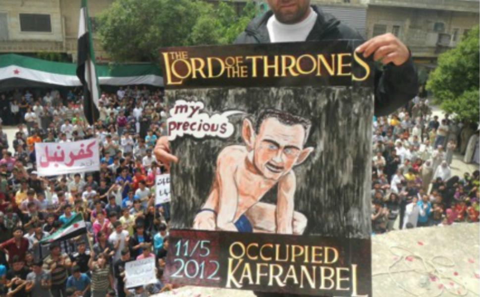 Башар Асад на этом плакате изображён в виде Голлума из Властелина колец, который говорит Моя прелесть  Кольцу Власти