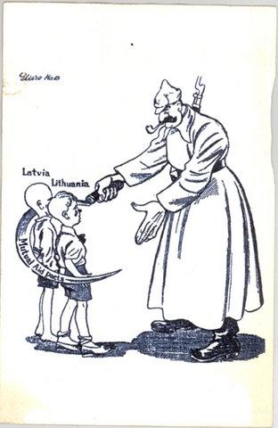 Карикатура, посвящённая присоединению Латвии и Литвы к СССР