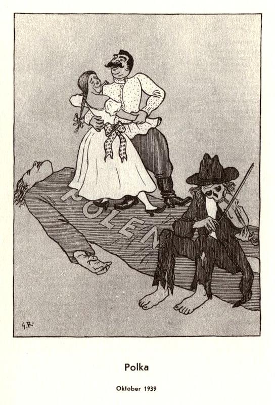 Карикатура, посвящённая присоединению к СССР Западной Украины и Западной Белоруссии, входивших до сентября 1939 г. в состав Польши