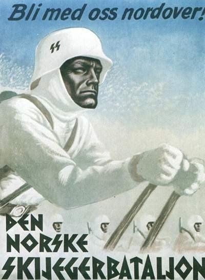 Север, присоединяйся к нам! Вступайте в Норвежский батальон. Вербовочный плакат, обращенный к норвежцам. Третий рейх. 1940-е.