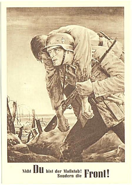 Немец несет раненного товарища
