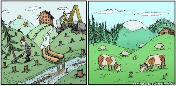 В ЕС нет проблемы незаконной вырубки лесов. 42% территории ЕС покрыто лесами, а на Украине только 15.7%
