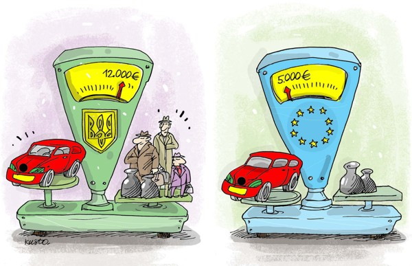 Украинцы переплачивают более 100% за иномарки. За Шкоду Октавию немец заплатит 5000 евро, француз - 6100 евро, а украинец - 11160 евро