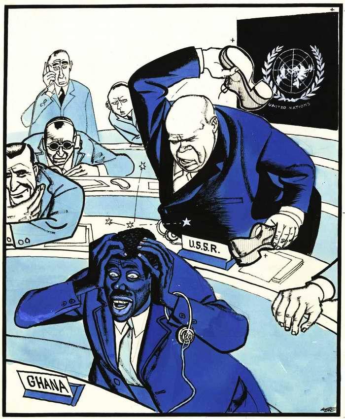 Советский лидер Никита Хрущев стучит ботинком по столу во время заседания 15-й ассамблеи ООН в целях срыва обсуждения венгерского вопроса (1960 год)