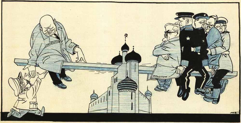 Никита Хрущев и Иосип Броз Тито на кремлевских качелях (1956 год)