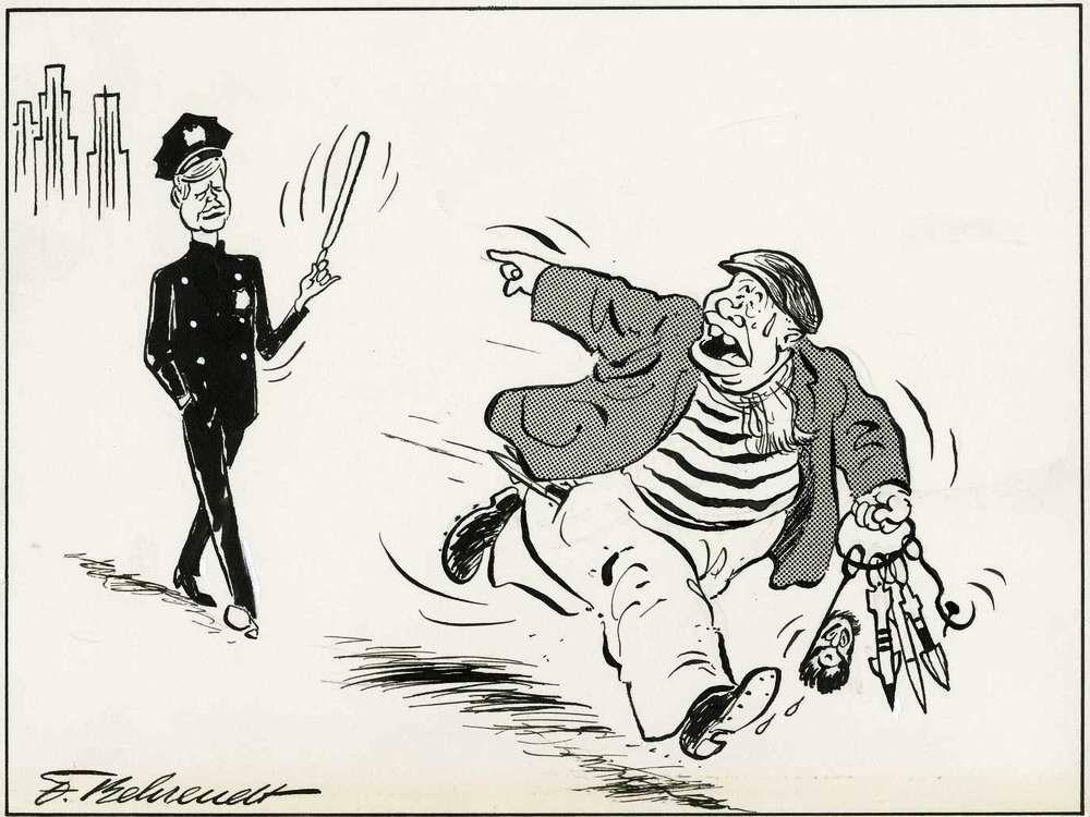 Убегающий преступник Хрущев кричит в сторону полицейского Кеннеди: Держи вора! (1962 год)