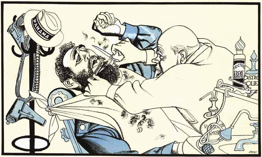 Парикмахер Хрущев пытается привести кубинского лидера Фиделя Кастро в опрятный вид (1964 год)