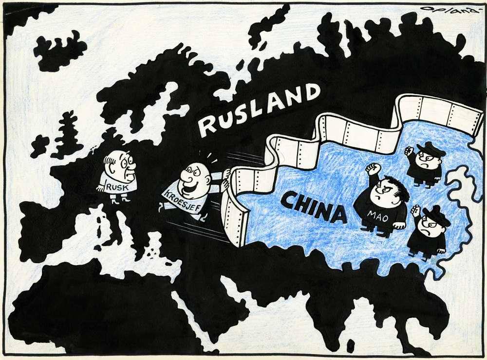 Хрущев и Мао отделились друг от друга железной стеной (1964 год)