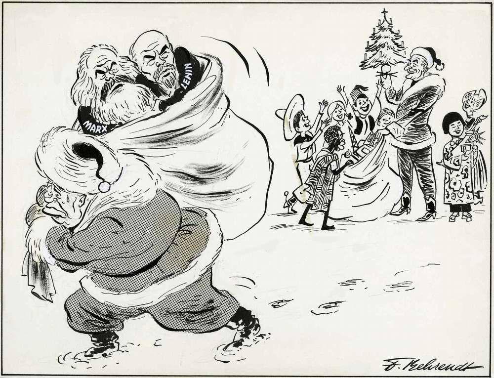 Советский лидер Никита Хрущев в роли Деда Мороза с мешком никому не нужных коммунистических подарков (1963 год)