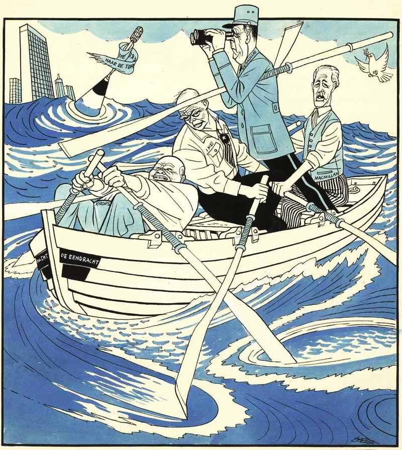 Лидеры стран Большой четверки никак не могут сдвинуть свою общую лодку с места (Хрущев действует вопреки остальным и все время гребет в противоположную сторону) (1958 год)