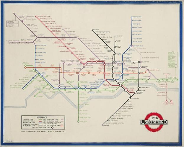 Схема линий лондонского метро.