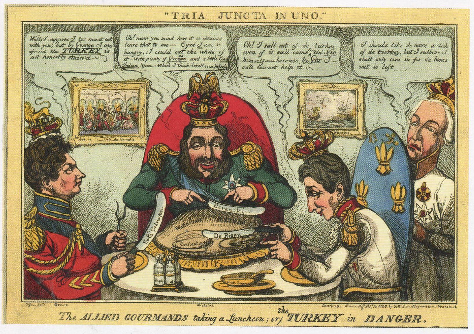 Томас Хоуэлл Джонс. Гурманы-союзники приступают к обеду, или Турция в опасности. 1 февраля 1828