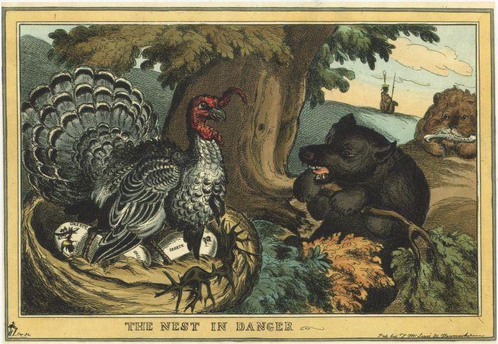 Уильям Хит. Гнездо в опасности. Сентябрь 1828. Русский медведь посягает на греческие яйца Турецкой индюшки.