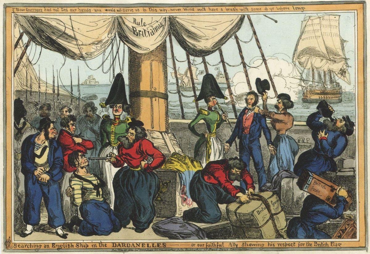 Уильям Хит. Досмотр английского корабля в Дарданеллах, или Наш верный союзник проявляет уважение к британскому флагу