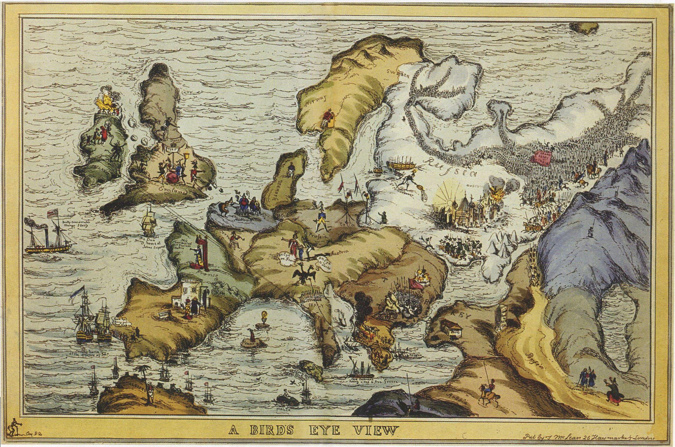Уильям Хит. Вид с птичьего полёта. Около 1828-1829. Сатирическая карта Европы периода войны с Турцией. Ледяные просторы России заполнены армиями медведей и казаков